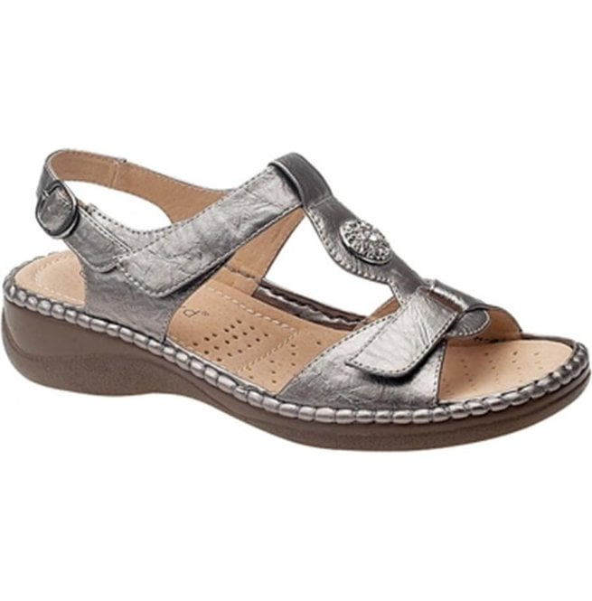 Boulevard Womens Pewter Twin Touch T-Bar Velcro Sandals L594FS