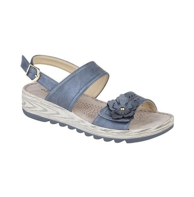 Boulevard Womens Metallic Blue Twin Strap Velcro/Buckle Sandals L5055C