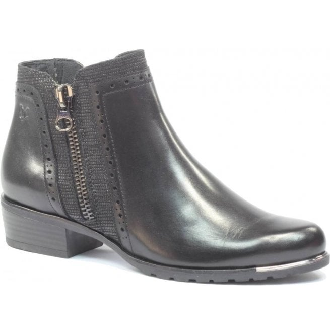 Caprice Womens Kelli Black Leather Ankle Boots 9-25403-29 019
