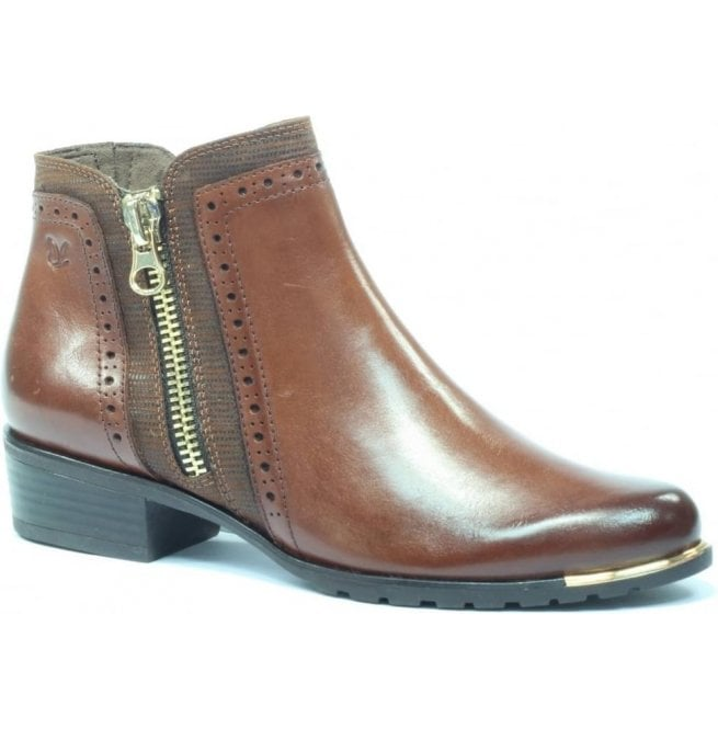 Womens Kelli Cognac Leather Ankle Boots 9-25403-29 313