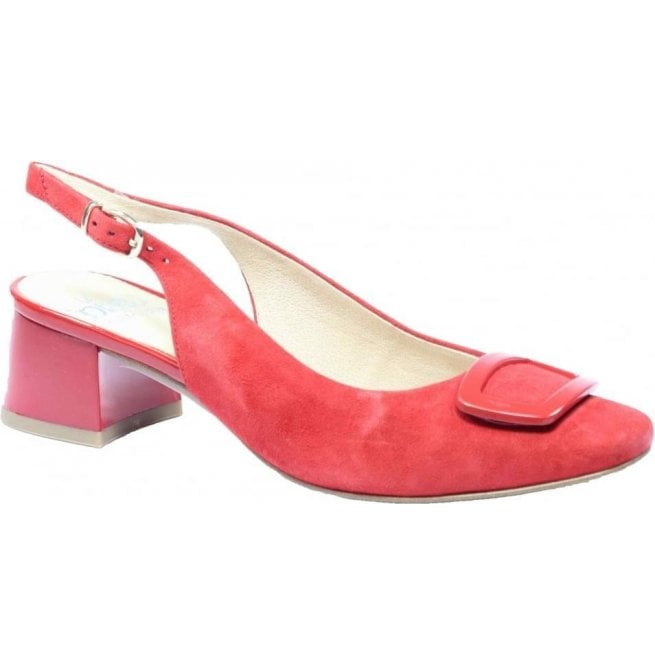 Caprice Womens Elodie Red Suede Sling Back Shoes 9-9-29500-28 524