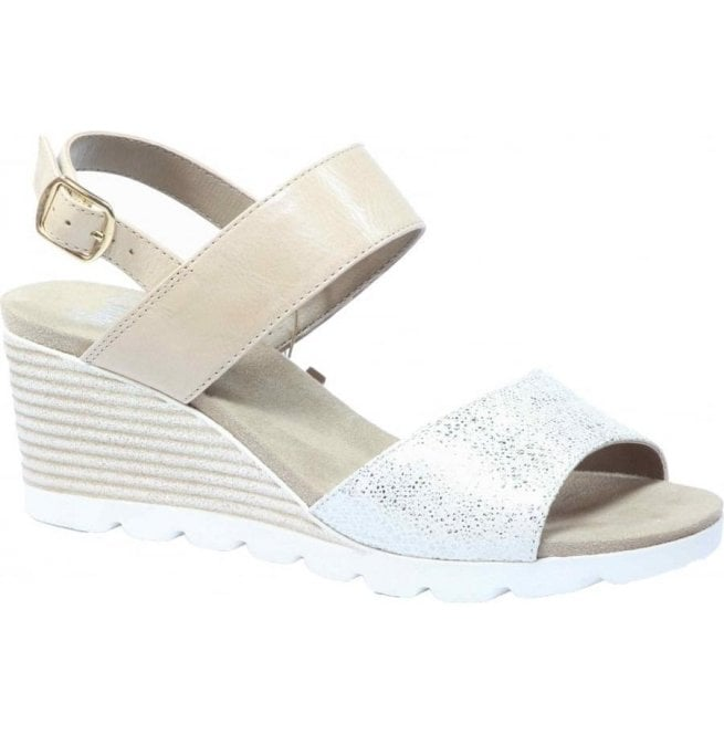 Caprice Womens Elena Beige Combi Sling Back Wedge Sandals 9-28701-28 405