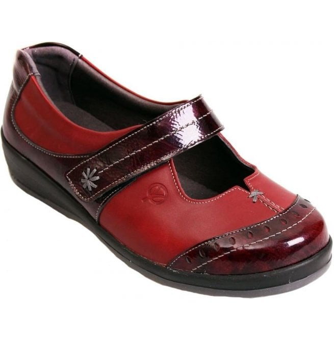 Sandpiper Womens Filton Red/Burgundy Patent Leather Extra Wide Shoes