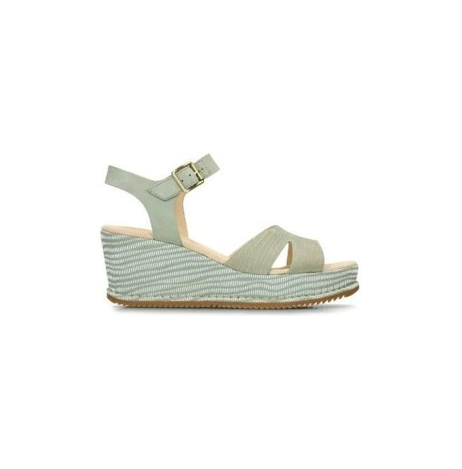 Clarks Womens Akilah Eden Light Green Combi Nubuck Wedge Sandals 26134208