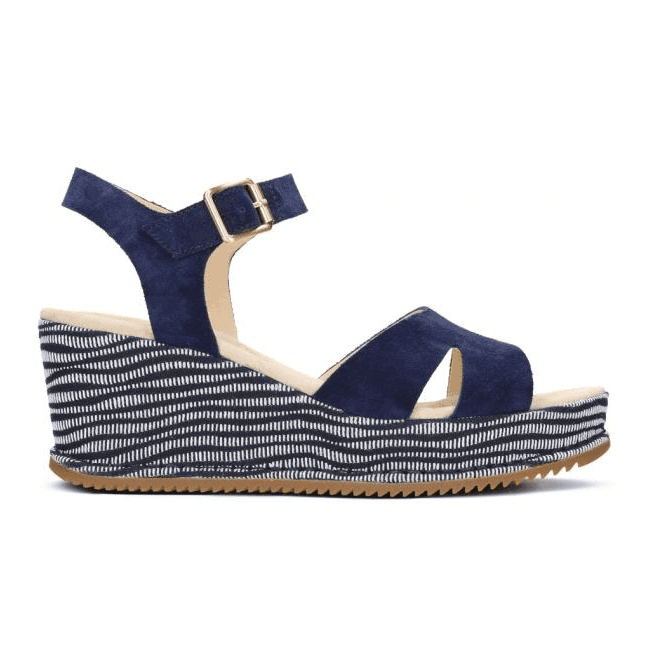 Clarks Womens Akilah Eden Navy Combi Suede Wedge Sandals 26130954