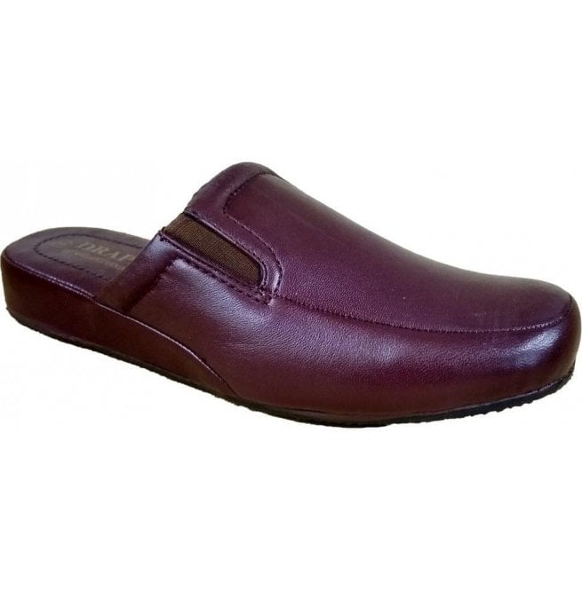 Drapers Mens Ian Burgundy Leather Mule Slippers
