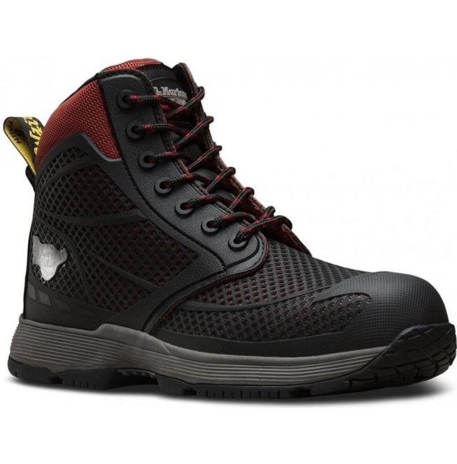 Dr Martens Mens Calamus S1P Black/Oxblood Lace Up Safety Boots 21716601