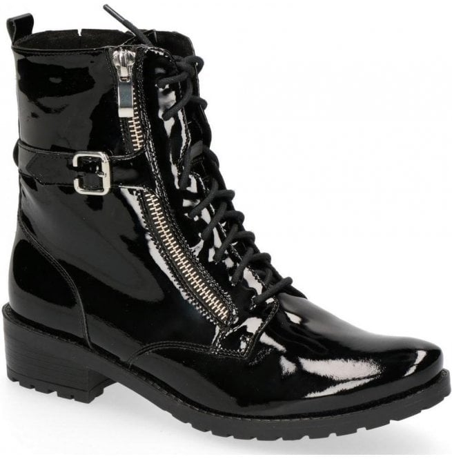 Caprice Womens Black Patent Leather Lace Up Ankle Boots 9