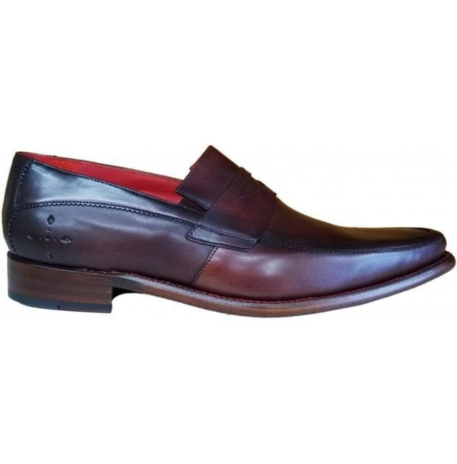 Jeffery West Mens Melly Checked Dark Brown Shadow Crust Leather Penny Loafer Shoes