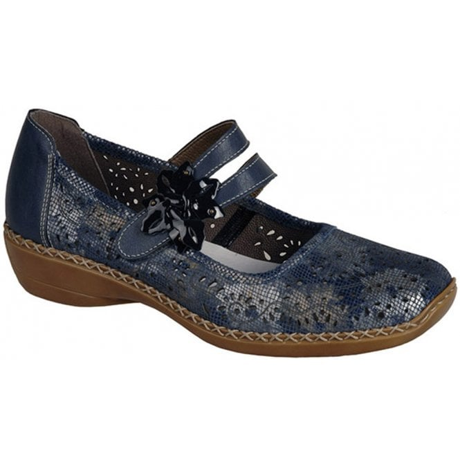 Rieker Womens Cannes Bar Shoes In Blue/Silver Combi Leather 41372-90