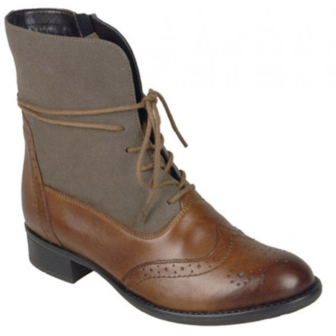 Remonte Womens Cristallin Tan/Grey Lace Up Brogue Ankle Boots R6477-24