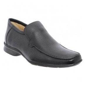 Mens Copacabana Black Leather Slip-On Shoes