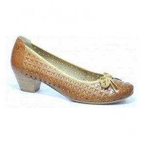 Womens Sand/Beige Leather Court Shoes 9-22302-20