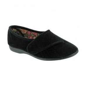 Womens Audrey Black Velcro Slippers