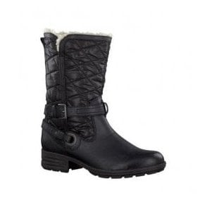 Womens Black Quilted Water Repellent Winter Boots 8-26403-21 001