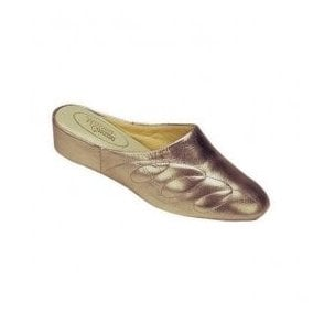 Womens Mahon Pewter Leather Slippers