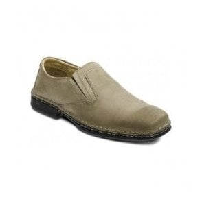 Mens Hadley Taupe Leather Elastic Slip On Shoes