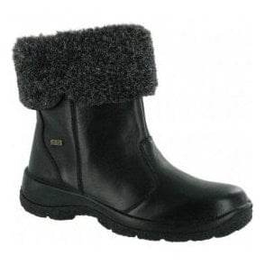 Womens Kingham Black Leather Waterproof Boots