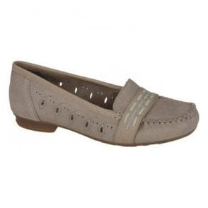 Capra Beige Slip On Moccasin Shoes 40055-64