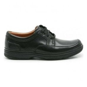 Mens Swift Mile Black Leather Shoes Extra Wide