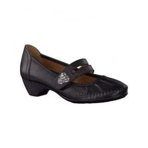 Womens Black Leather Mary Jane Shoes 8-24311-22 001