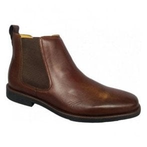 Mens Austin Dark Brown Leather Pull On Chelsea Boots