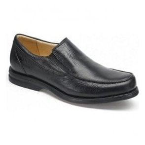 Mens Bernardo Black Leather Slip On Shoes