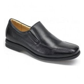 Mens Belem Black Grained Leather Slip On Shoes