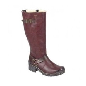 Womens Elasticated High Leg Boots In Burgundy 74370-35