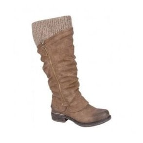 Womens Andros High Leg Waterproof Knitted Boot With Side Zip In Nut 98956-25