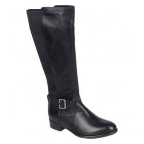 Womens Black Long Boots With Buckle Strap R6480-01