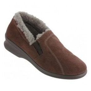 Womens Brown Elasticated Lined Slippers 2516 71