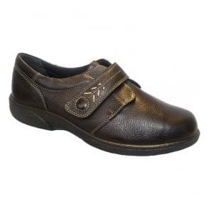 Womens Healey Chocolate Velcro Wide Fitting Shoes