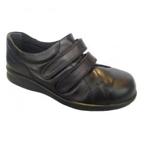 Womens Naomi Black Leather Velcro Shoes