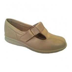 Womens Rowena Beige Leather Velcro Shoes