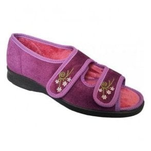 Womens Ace 2 Heather Velcro Wide Fitting Slippers 71075H EE-4E (2V)