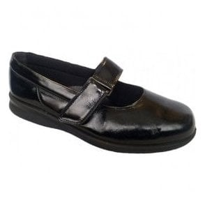 Womens Florence Black Crinky Patent Leather Shoes