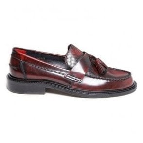 Mens Ace Punch Bordo Loafer With Punched Detail