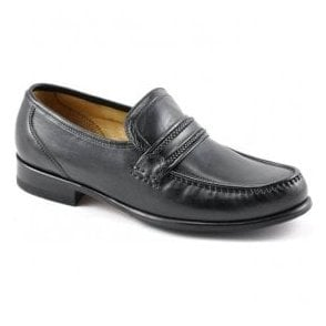 Mens Rome Moccasin Black Leather Shoes