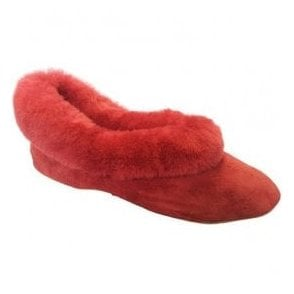 Womens Janette Cherry Suede Slippers