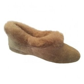 Womens Janette Nut Suede Slippers