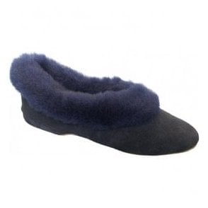 Womens Janette Navy Suede Slippers