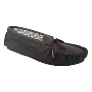 Mens Michael Black Moccasin Style Slippers
