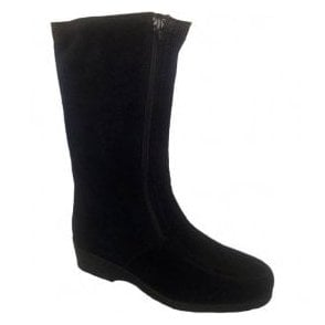 Womens Ambleside Black Suede Boots Water Resistant