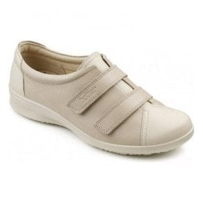 Womens Leap Extra Wide Beige/Soft Beige Leather Velcro Shoes