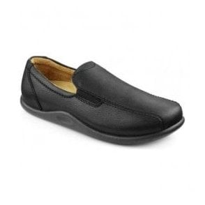 Mens Relax Black Grain Slippers