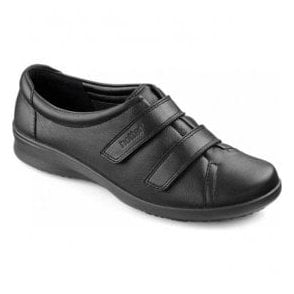 Womens Leap Extra Wide Jet Black Leather Velcro Shoes