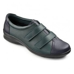 Womens Leap Extra Wide Dark Green/Navy Leather Velcro Shoes