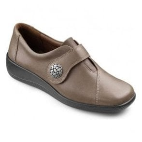 Womens Collette Brown Leather Velcro Strap Shoes