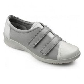 Womens Leap Extra Wide Limestone/Dove Leather Velcro Shoes